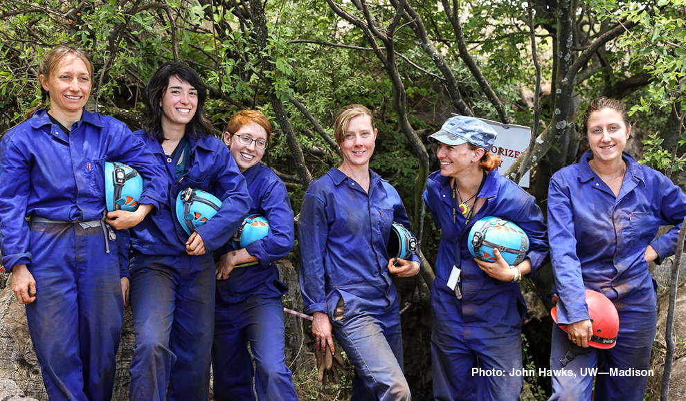 """The six women known as the Rising Star Expedition's """"Underground Astronauts"""""""