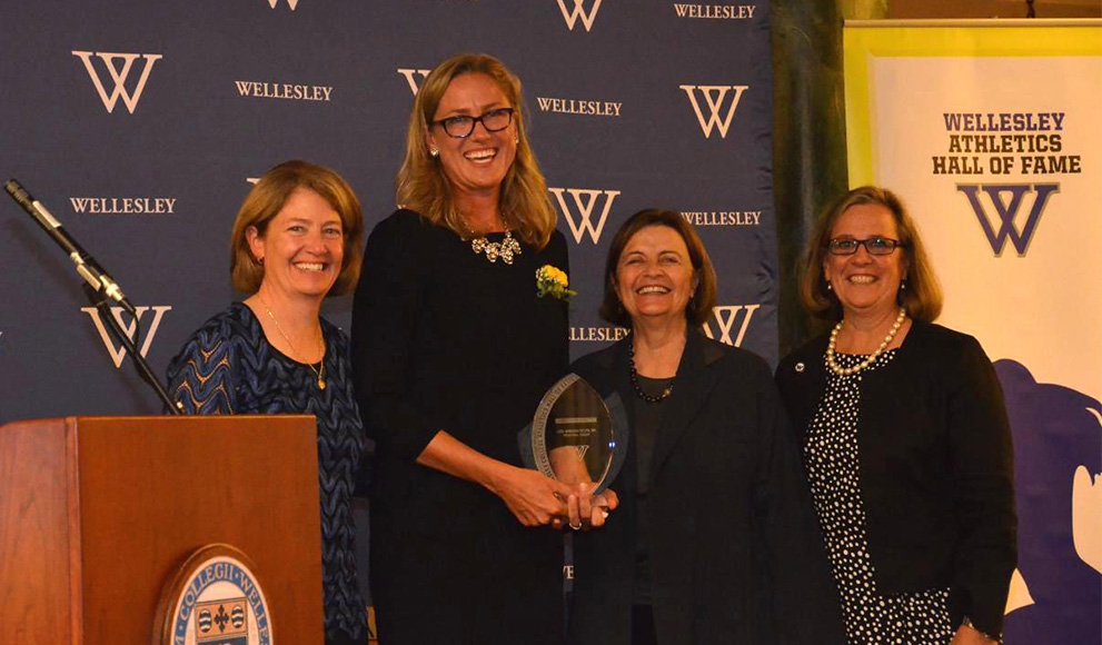 Liza Janssen Petra '94, shown second left, was inducted into Wellesley's Athletics Hall of Fame in 2014, and the New England Basketball Hall of Fame this weekend.