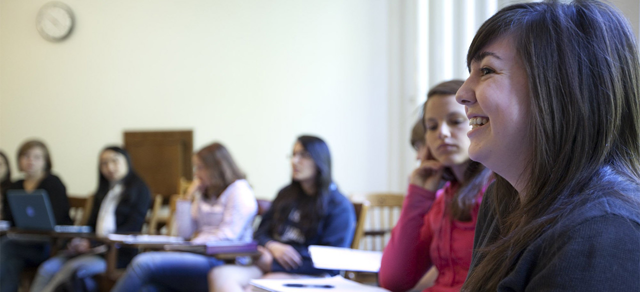 Wellesley students taking a class.