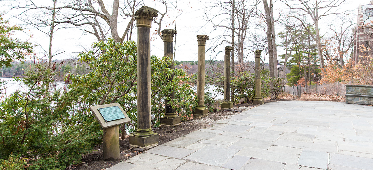 Pillars from Wellesley's old College Hall stand in Tower Court