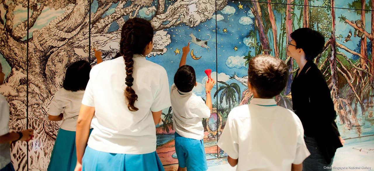 Children view art at the Singapore National Gallery, one of the museums Professor Peggy Levitt discussed in a recent interview with the BBC.