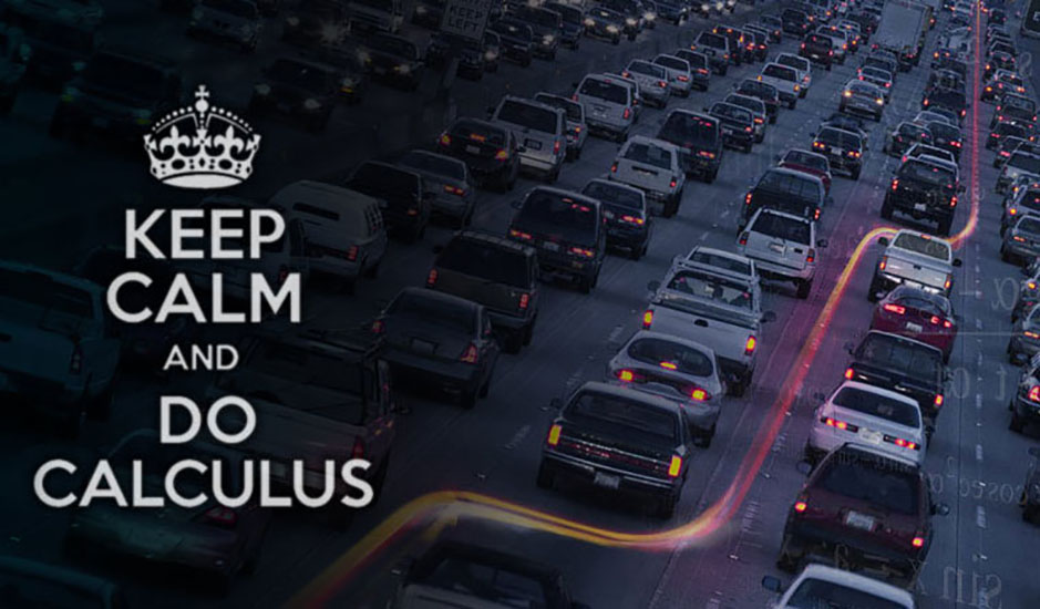 "the words ""keep calm and do calculus"" superimposed on a traffic snarl"