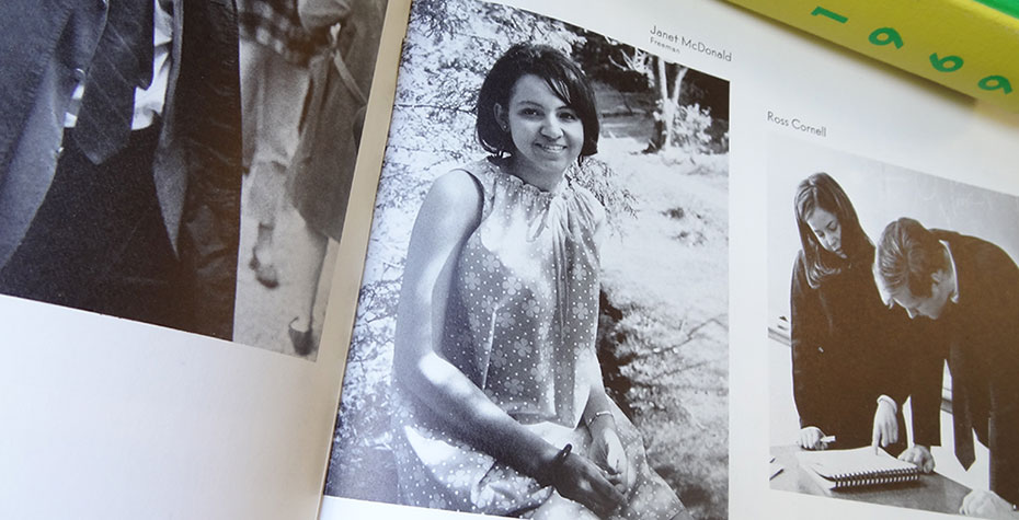 photo of yearbook page with Janet (McDonald) Hill photo