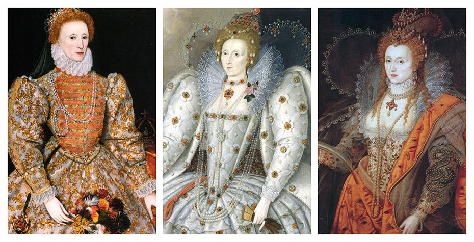 three different portraits of Queen Elizabeth I
