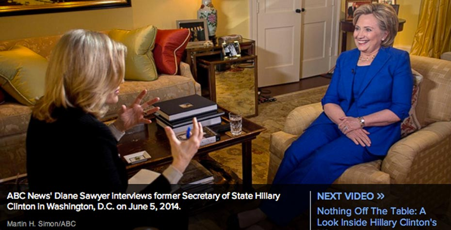 Screen Shot from ABC promo of Sawyer-Clinton interview