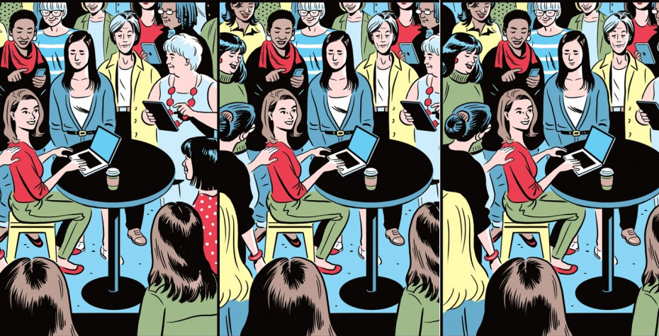 three repeats of cartoon: woman at laptop surrounded by helpful women