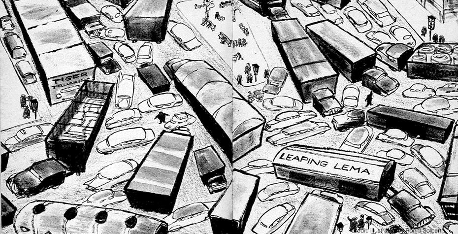 pencil drawing of traffic jam from The Pushcart War