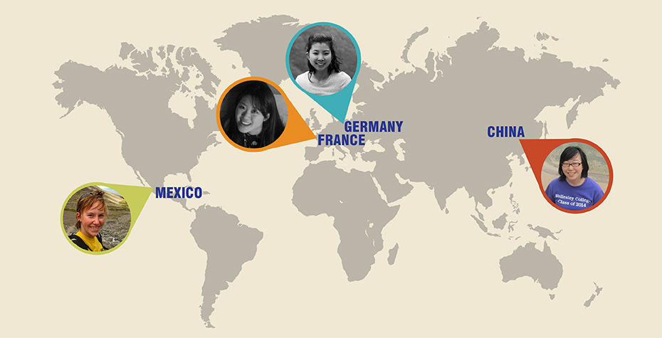 world map with Wellesley Fulbright winner's faces tagged to the country they will serve