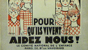 French poster with childer peaking around door