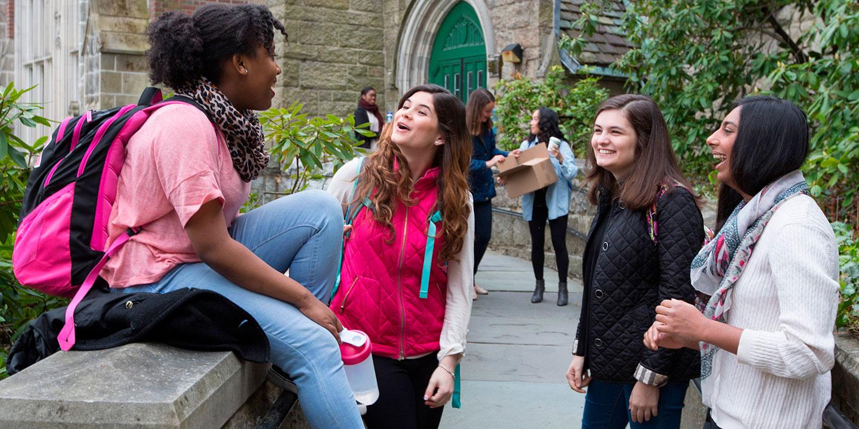 Students standing around talking