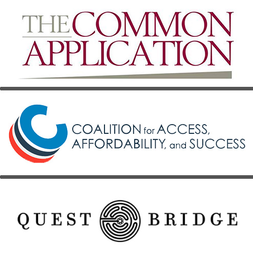 Logos for Common Application, Coalition, and Questbridge