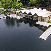 bird's eye view of Butler Boathouse