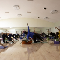 Students in mirrored dance studio