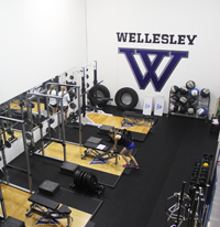 Weight room with benches and medicine balls