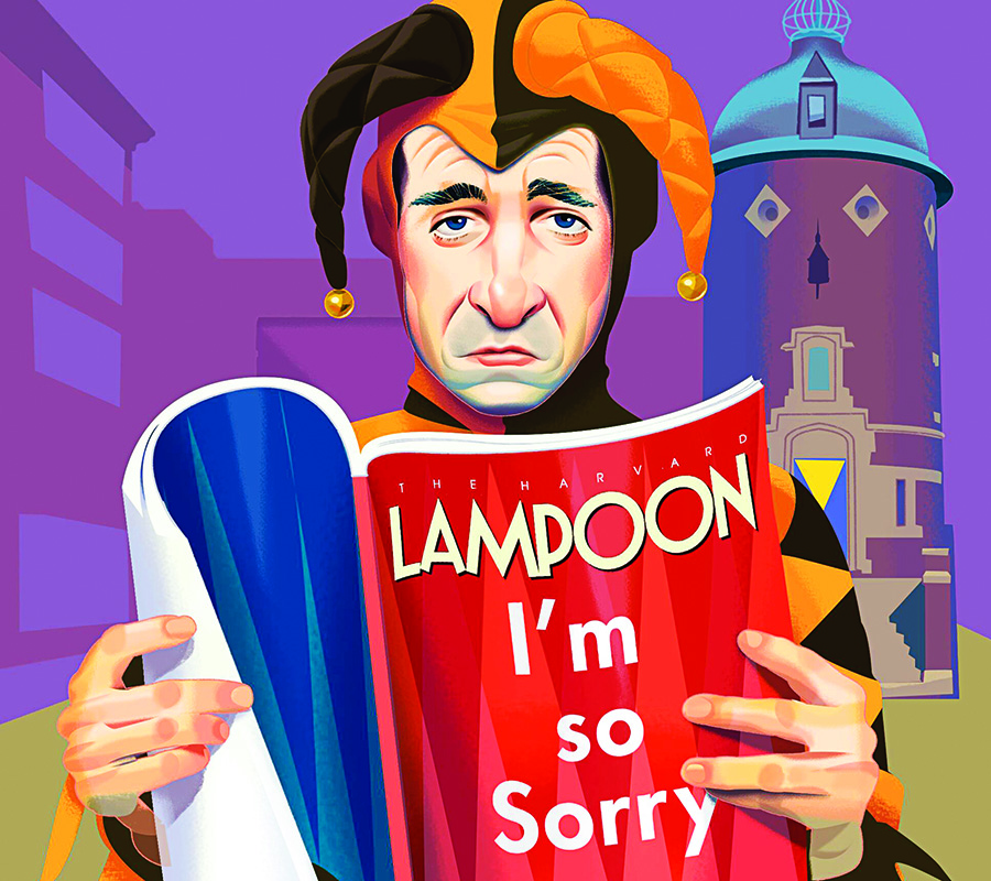 Cartoon drawing of a jester reading the Lampoon