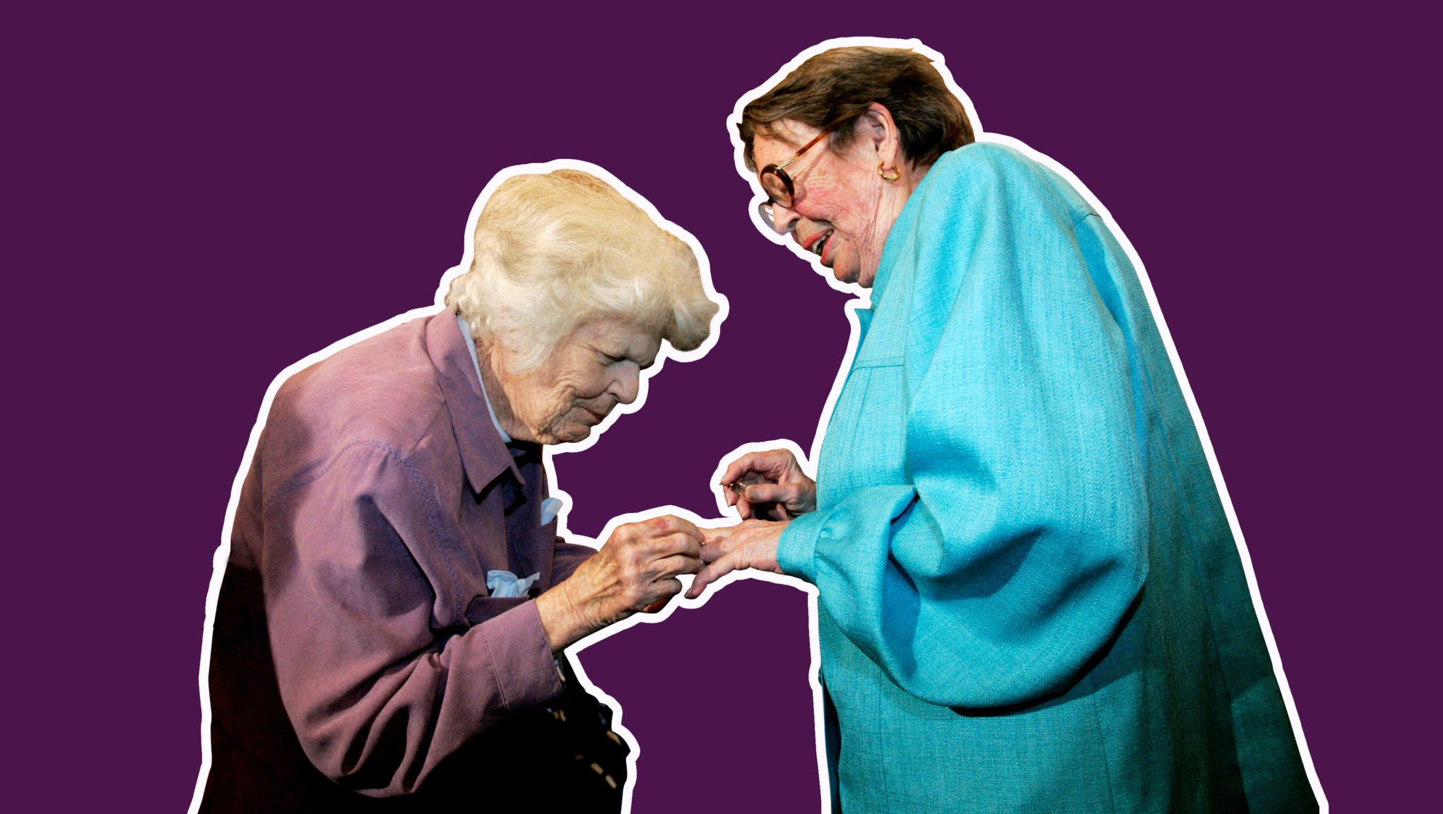 Del Martin, left, places a ring on her partner Phyllis Lyon, right, during their wedding ceremony in San Francisco, on June 16,