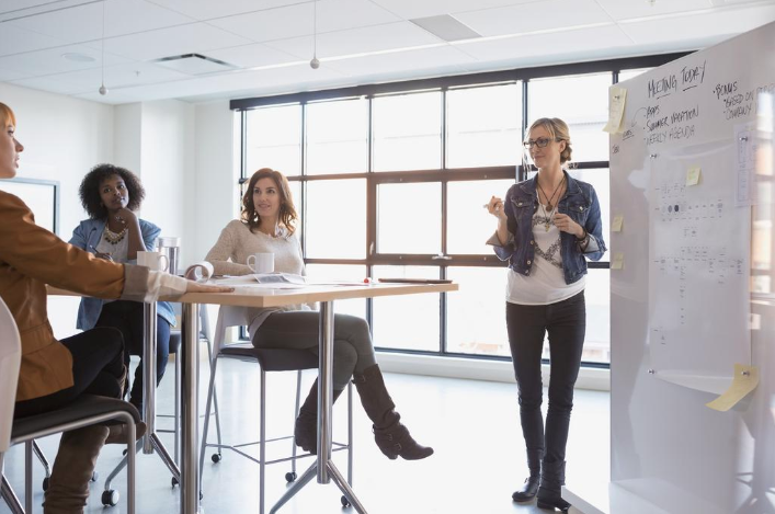 Stock image of women in a workplace