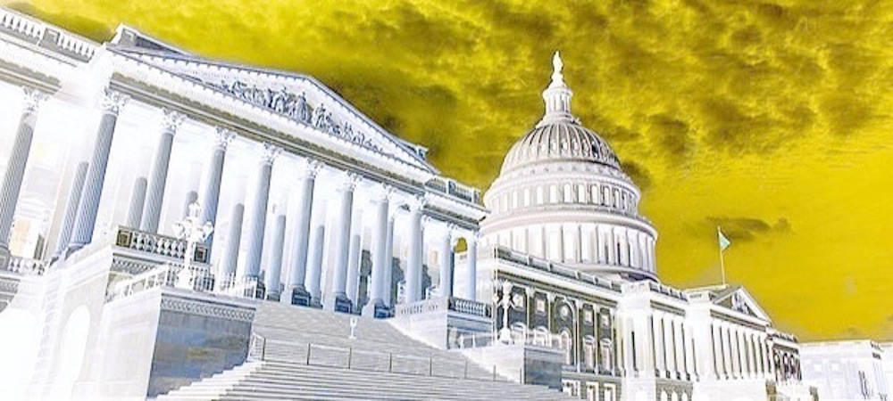 US capitol with a yellow sky