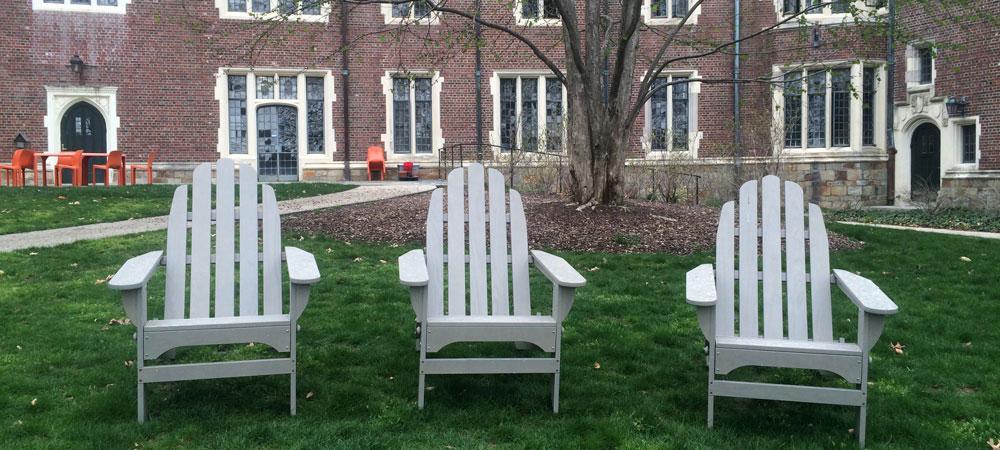 Adirondack chairs behind Stone-Davis