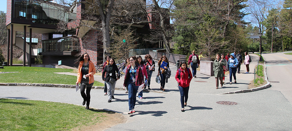 Students walking to class from the Lulu Campus Center
