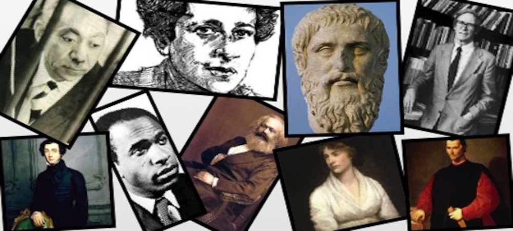 Faces of the great political thinkers throughout time