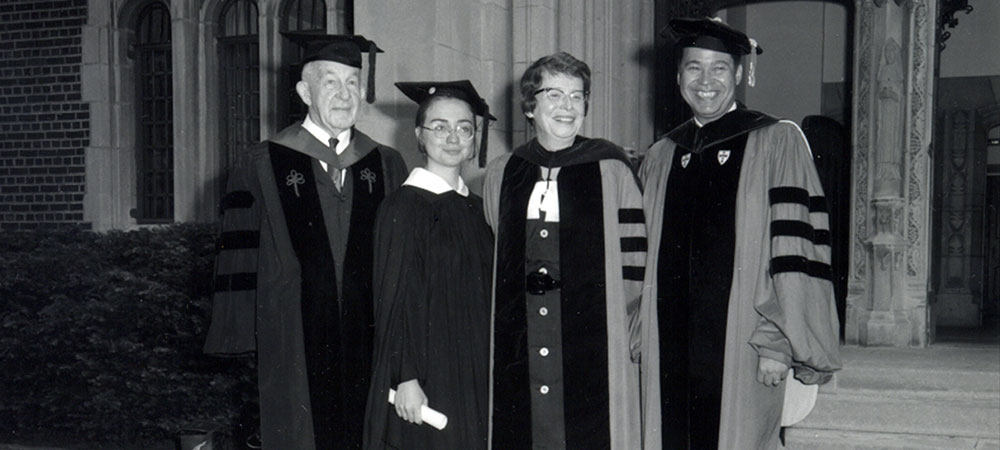 Hillary Rodham '69 at Commencement with Ruth M. Adams, president of Wellesley, and distinguished guests