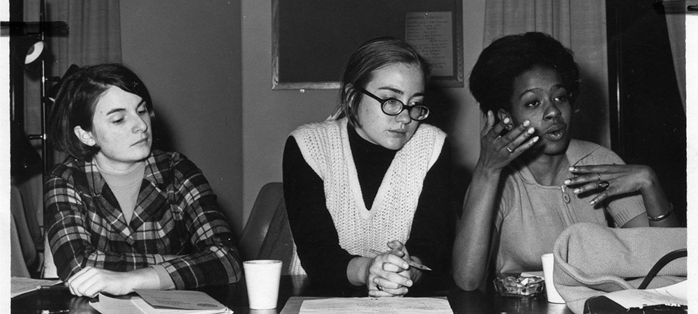 Hillary Rodham '69 at a panel featuring candidates for Wellesley College Government President