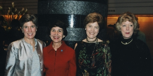 Beth Pfeiffer '73, Suzy Newhouse '55, Diana Chapman Walsh, and Betsy Knapp '64 on Nov. 6, 2001, at an alumnae event in San Franc