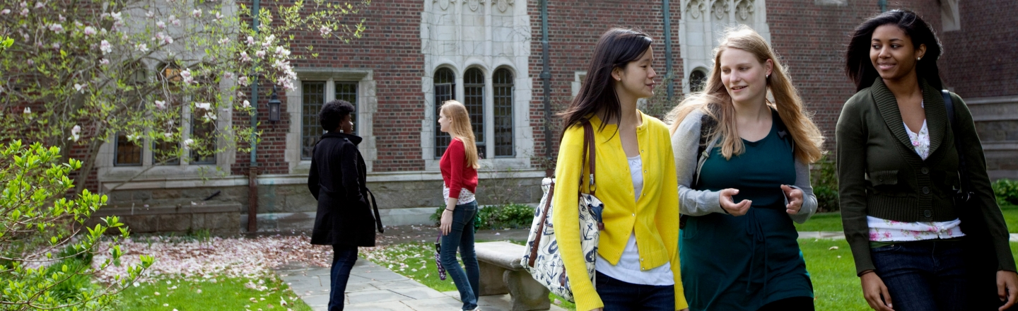 students on Tower Courtyard