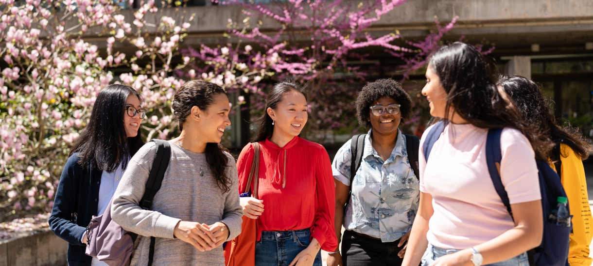 a group of students chatting in front of Clapp Library in the spring