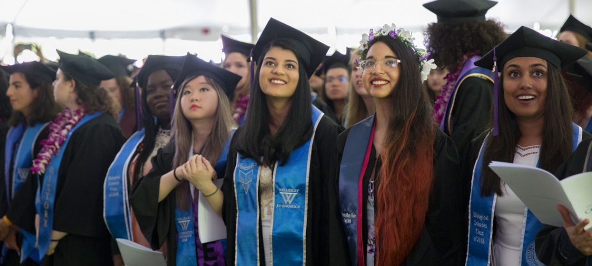 Class of 2018 stands during commencement ceremony