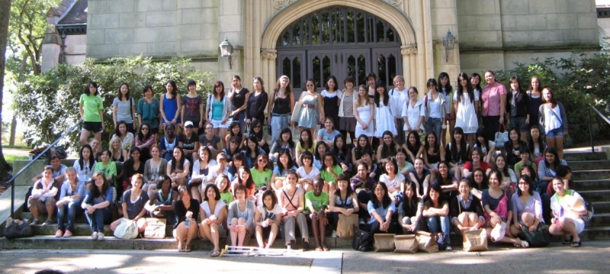 International Student Seniors on Chapel Steps