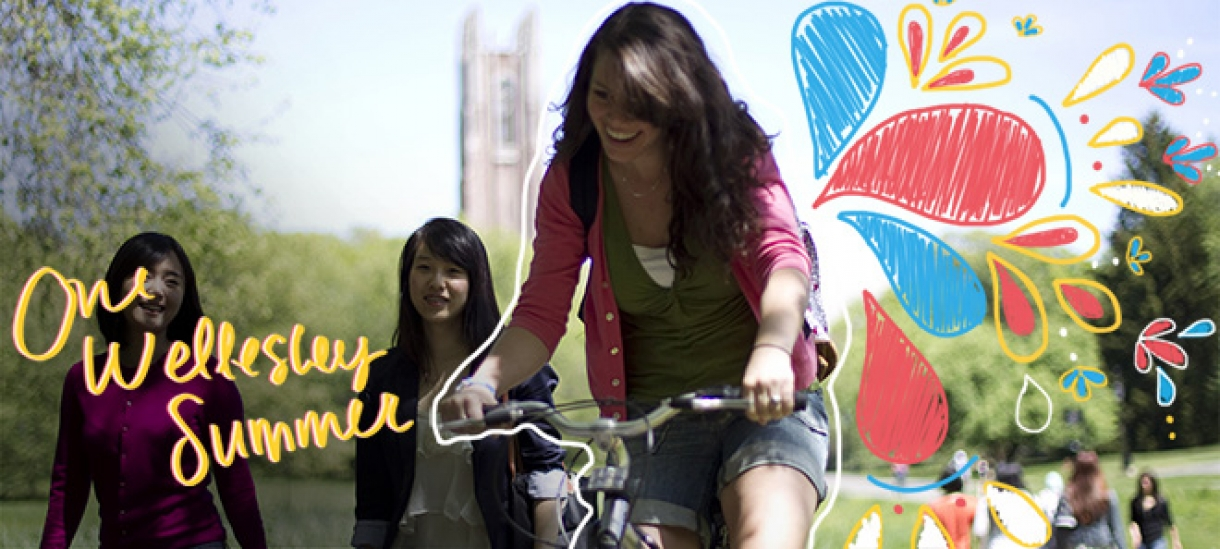 girl biking with Wellesley tower in background