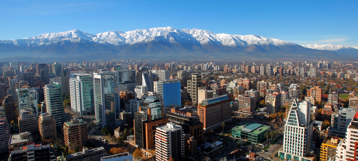Overhead view of Santiago, Chile with Andes in the background