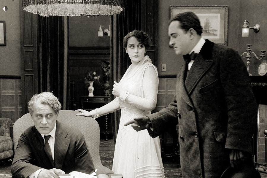 """black and white still from Alice Guy Blaché's """"The Scarlet Woman"""""""