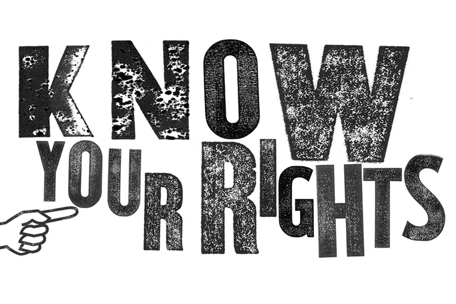 "letters that spell out ""Know your rights"""