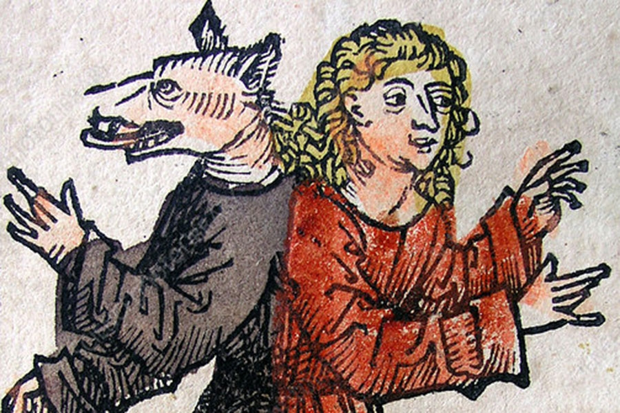 image of a man and a wolf in human clothing