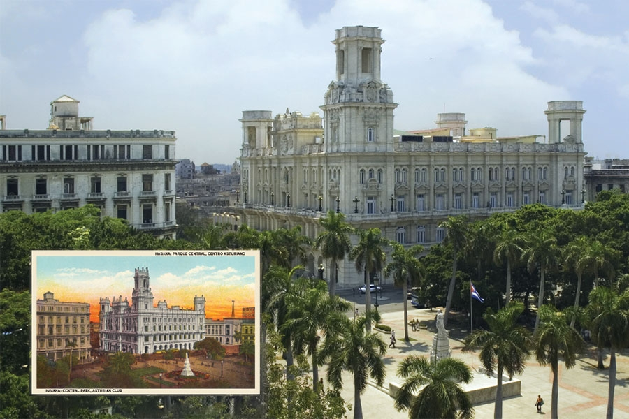 Photograph of an old building in Havana Cuba today with an overlay of a vintage postcard of the same building on top