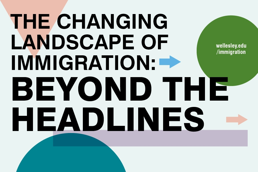 Image of a variety of shapes with letters that spell out the changing landscape of immigration: beyond the headlines
