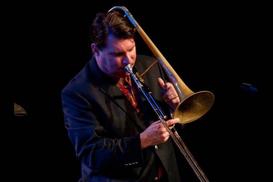 a man playing a trombone