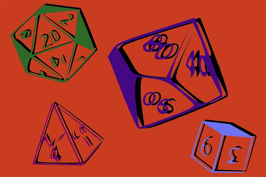 image of a variety of dice from Dungeons and Dragons