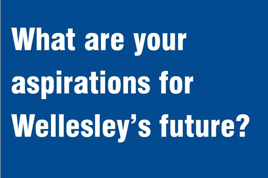 """white text against blue background that says """"What are your aspirations for Wellesley's future?"""""""