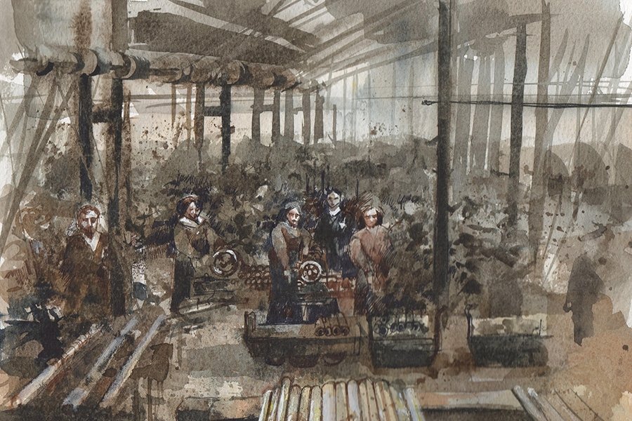 watercolor painting of people working in what looks like an old factory