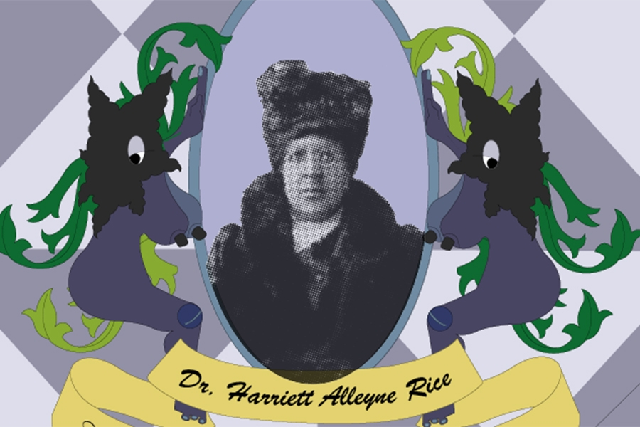 Archival image of Dr. Harriett Alleyne Rice (Class of 1887), surrounded by purple geometric pattern and stylized shapes