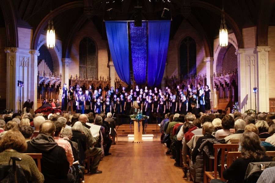 The Wellesley College Choir and Chamber Singers perform in Houghton Chapel.