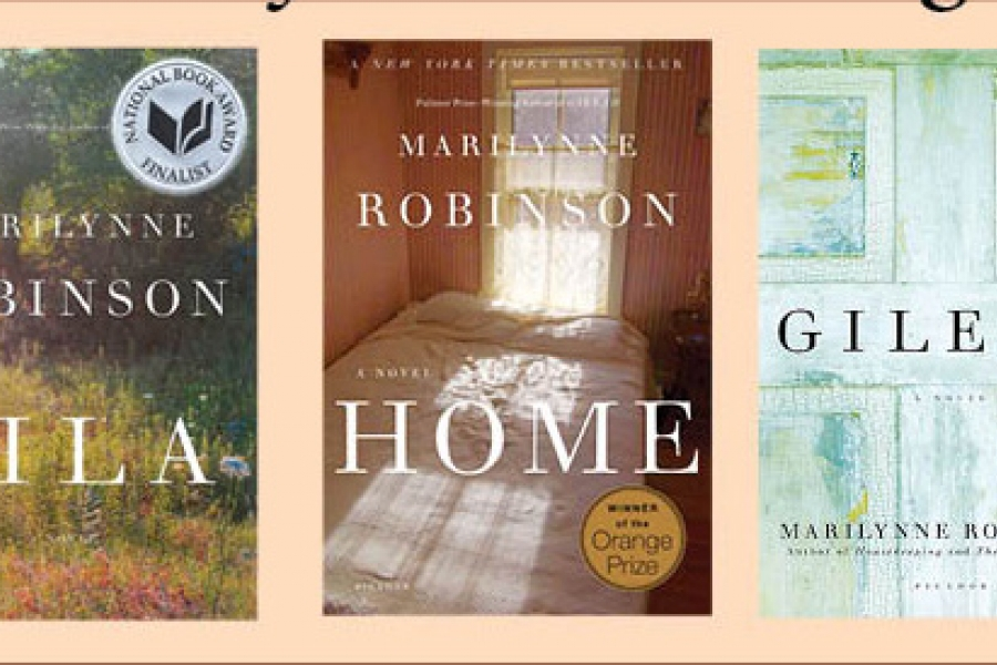 "Picture of Marilynne Robinson's books from left to right, ""Lila,"" ""Home,"" ""Gilead"""
