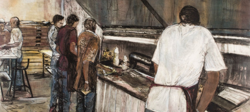 Kim Berman, Telling the Story: Students at Work, 2012. Monoprint, 29 13/16 x 39 3/8 inches. 2017.55.