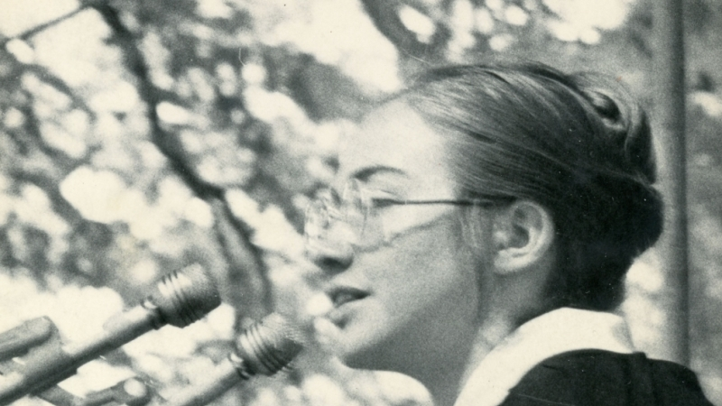 Hillary Rodham '69 delivers the first-ever Wellesley College student commencement speech, May 31, 1969