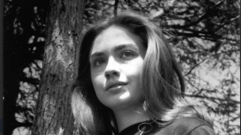 Hillary Rodham '69 at Lake Waban on the Wellesley College campus