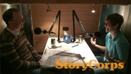 Professor Bryan Burns and Kaylie Cox '18 record a StoryCorps Interview